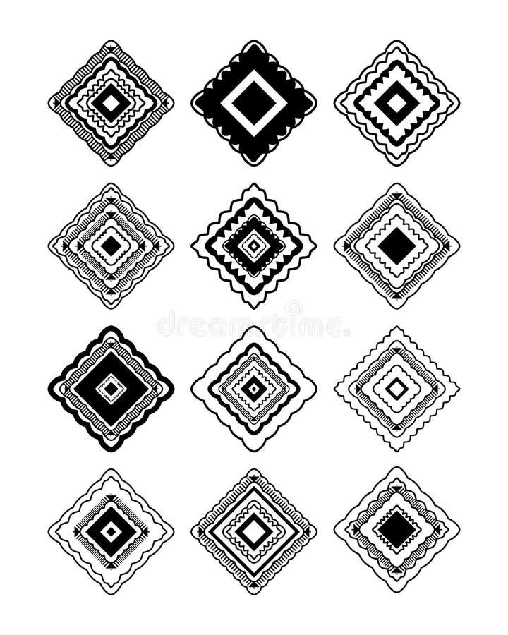 Insieme tribale di forma del diamante illustrazione di stock