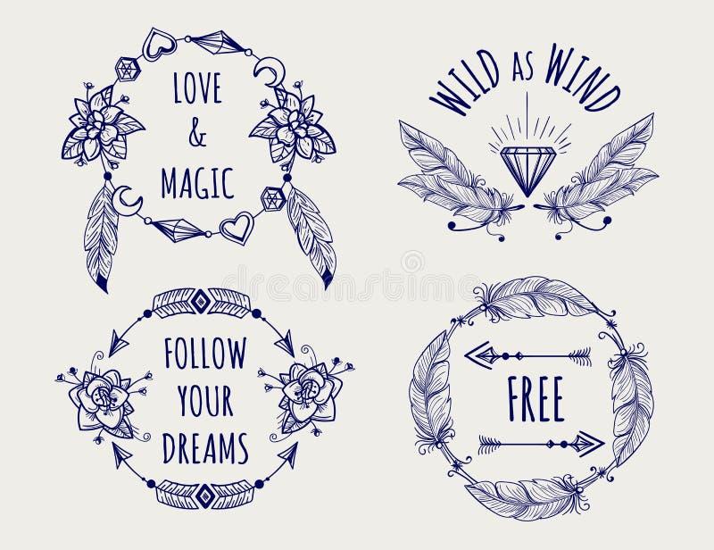 Insieme tribale di logo di stile di Boho royalty illustrazione gratis