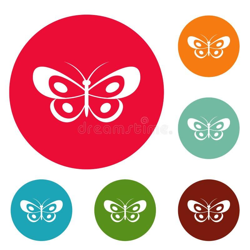 Insieme tropicale del cerchio delle icone della farfalla royalty illustrazione gratis