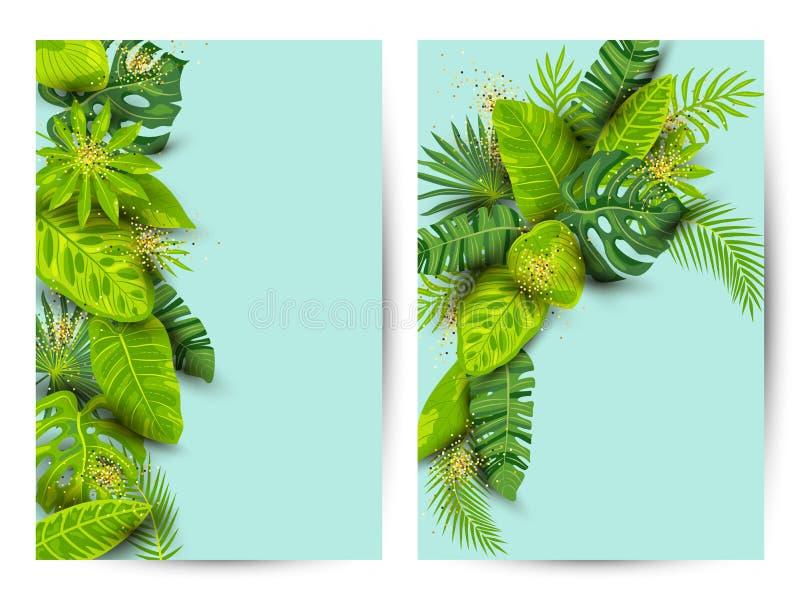 Insieme tropicale del fondo di estate verde con le foglie esotiche illustrazione vettoriale