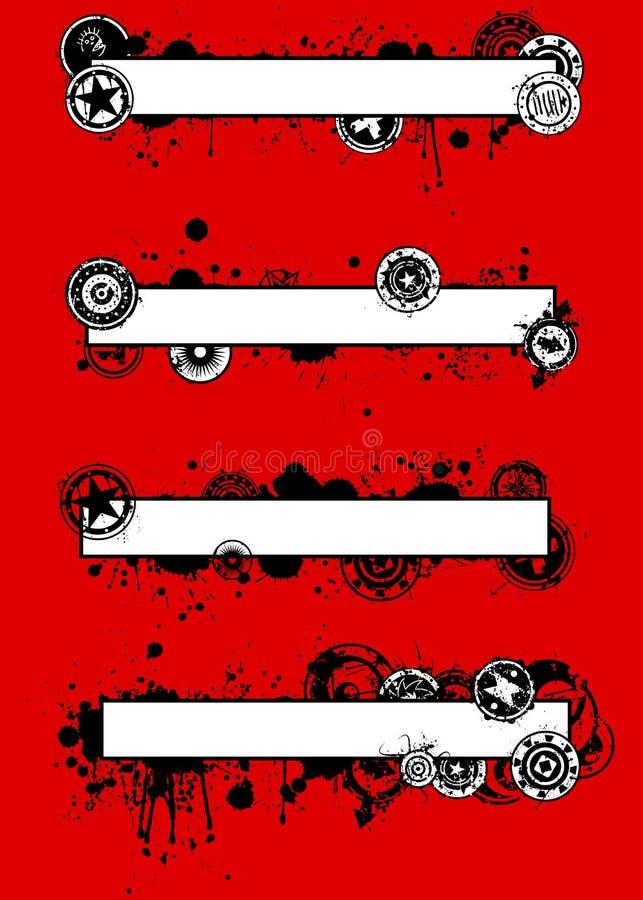 Insieme unico della bandiera dello Splatter di Grunge illustrazione di stock