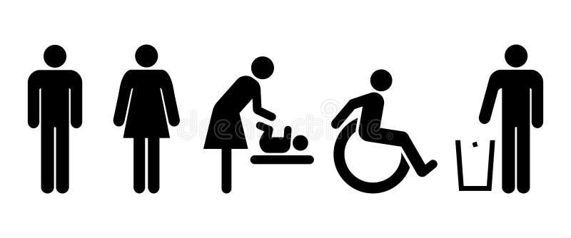 Insieme universale della toilette dei segni royalty illustrazione gratis