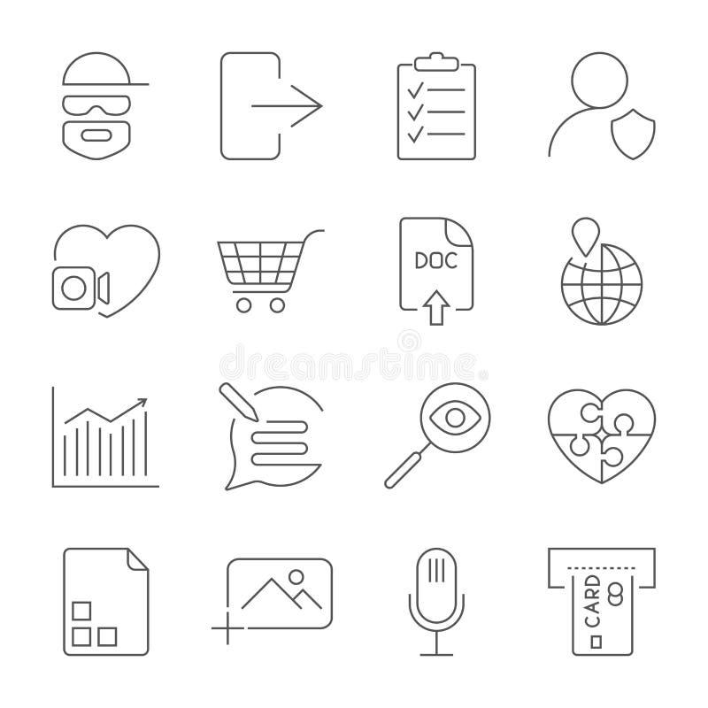 Insieme universale per il web ed il cellulare Pirata informatico, foto, nota, bancomat ed altro Icone messe con il colpo editabil royalty illustrazione gratis