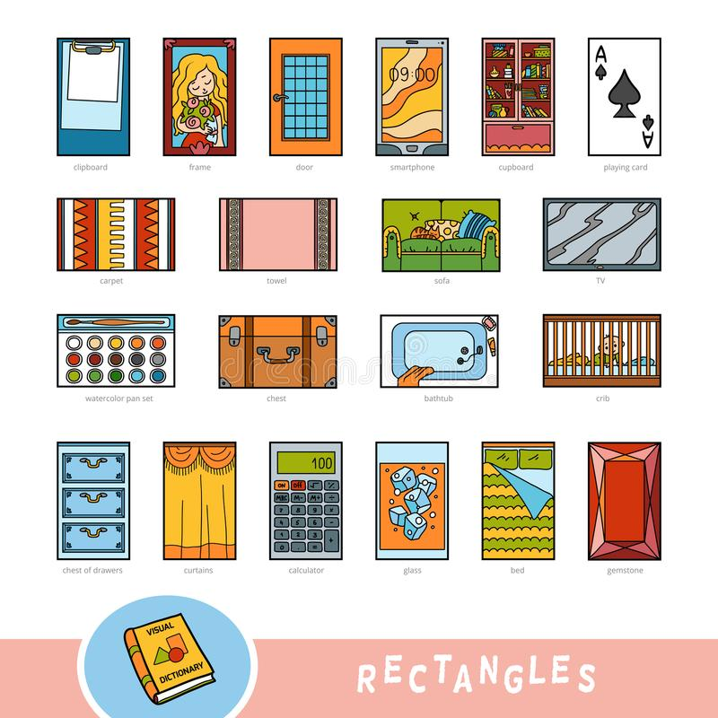 Insieme variopinto degli oggetti di forma di rettangolo Dizionario visivo illustrazione di stock
