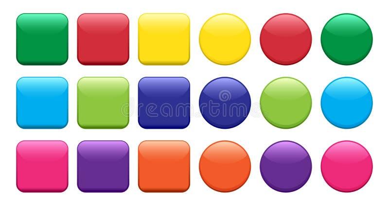 Insieme variopinto dei bottoni, del quadrato e della forma rotonda Vettore illustrazione vettoriale