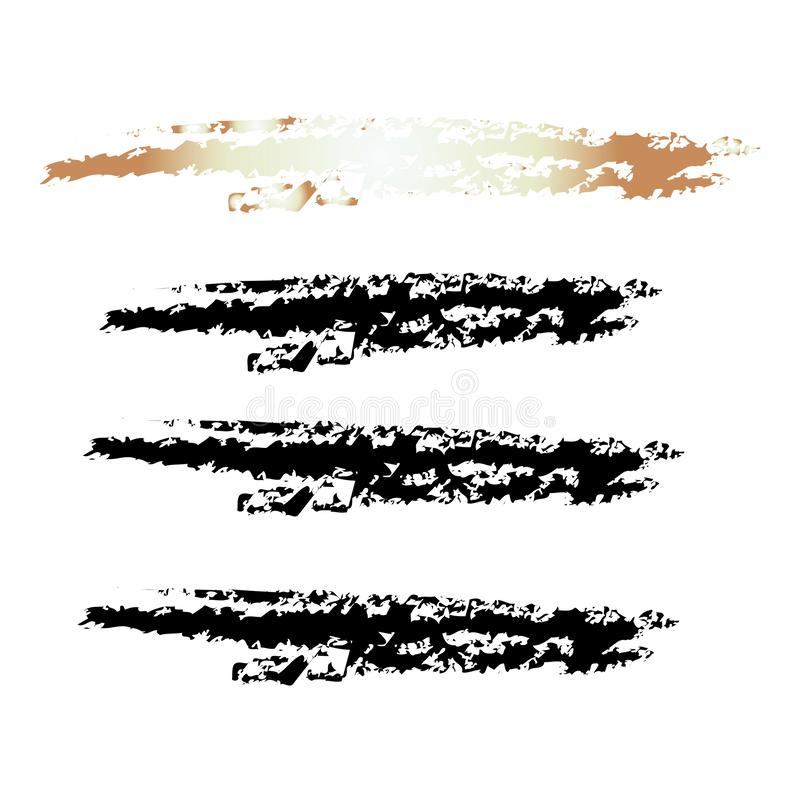 Insieme variopinto del colpo della spazzola della mano di lerciume immagine stock libera da diritti