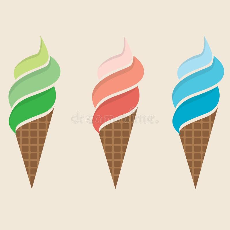Insieme variopinto del gelato illustrazione vettoriale