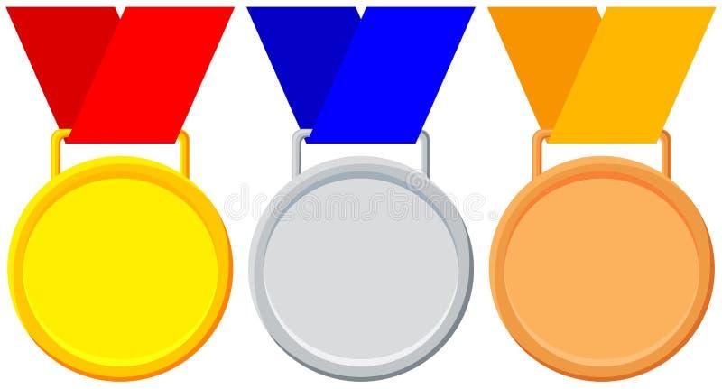 Insieme variopinto dell'icona del bronzo dell'argento dell'oro della medaglia del vincitore illustrazione di stock