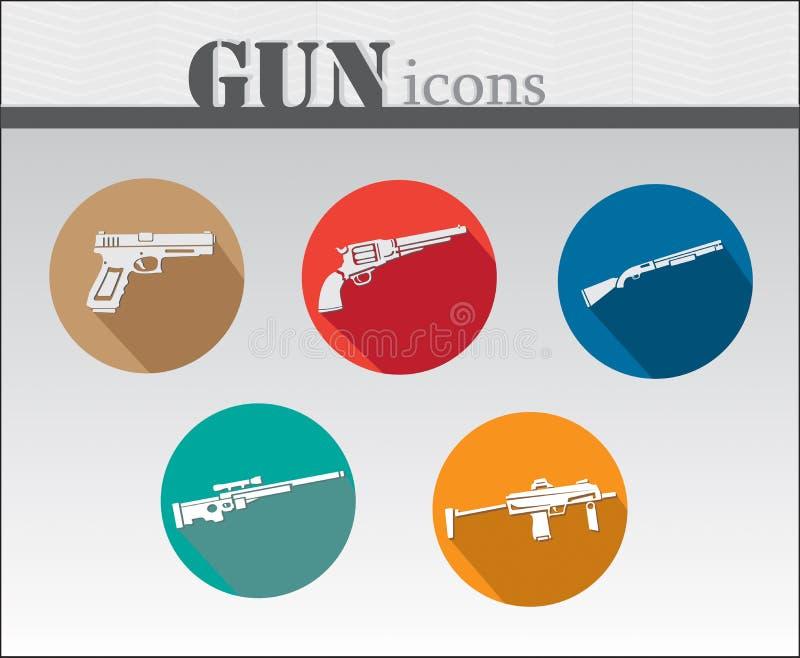 Insieme variopinto dell'icona delle pistole fotografia stock libera da diritti