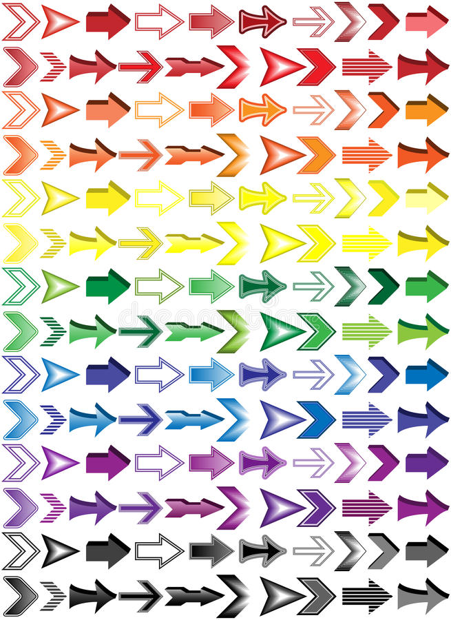 Insieme variopinto della freccia illustrazione vettoriale