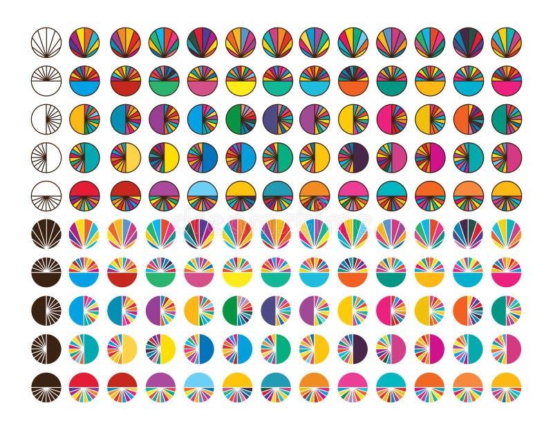 Insieme variopinto di simmetria della fetta del raggio del cerchio illustrazione vettoriale