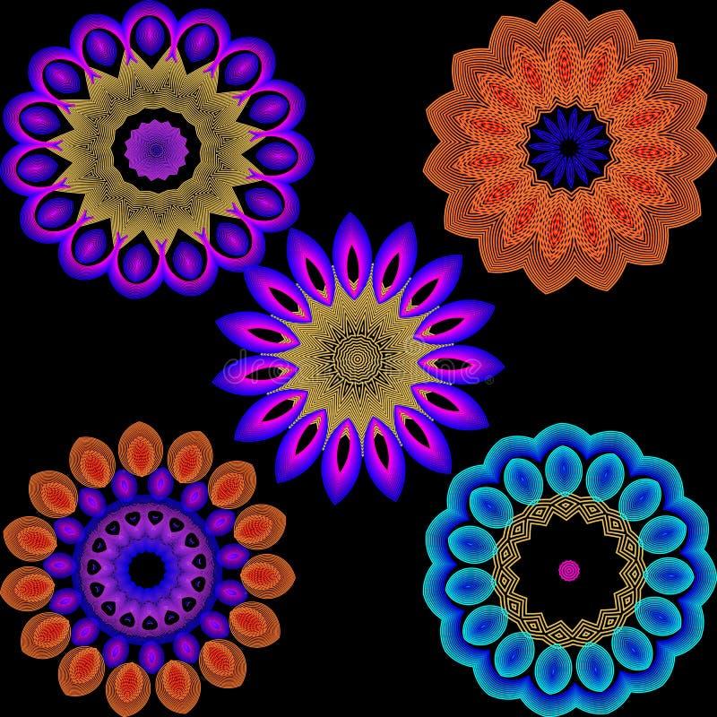 Insieme variopinto illuminato del modello di fiori Linea vaga al neon fiori dell'estratto dei trafori di arte Fondo floreale con  illustrazione di stock