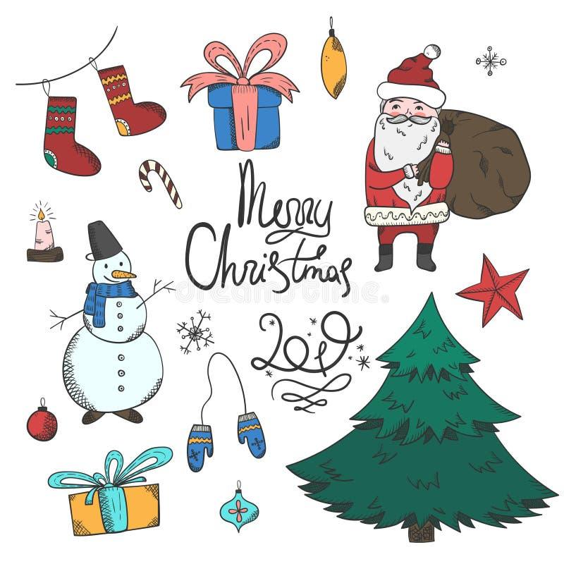 Insieme variopinto luminoso degli elementi di Natale di scarabocchio royalty illustrazione gratis