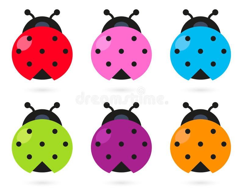 Insieme variopinto sveglio del Ladybug illustrazione vettoriale