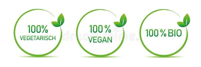 Insieme vegetariano di tipografia del vegano bio- delle etichette dell'alimento biologico isolate su un fondo bianco royalty illustrazione gratis