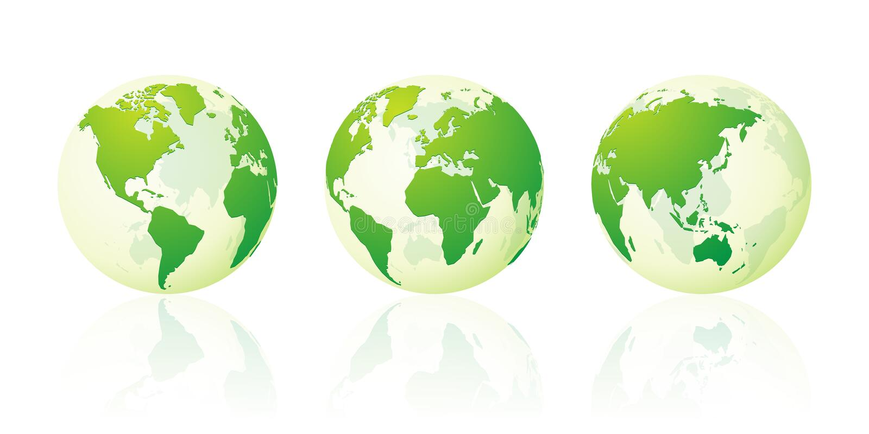 Insieme verde del mondo del globo del pianeta Terra trasparente delle mappe illustrazione vettoriale