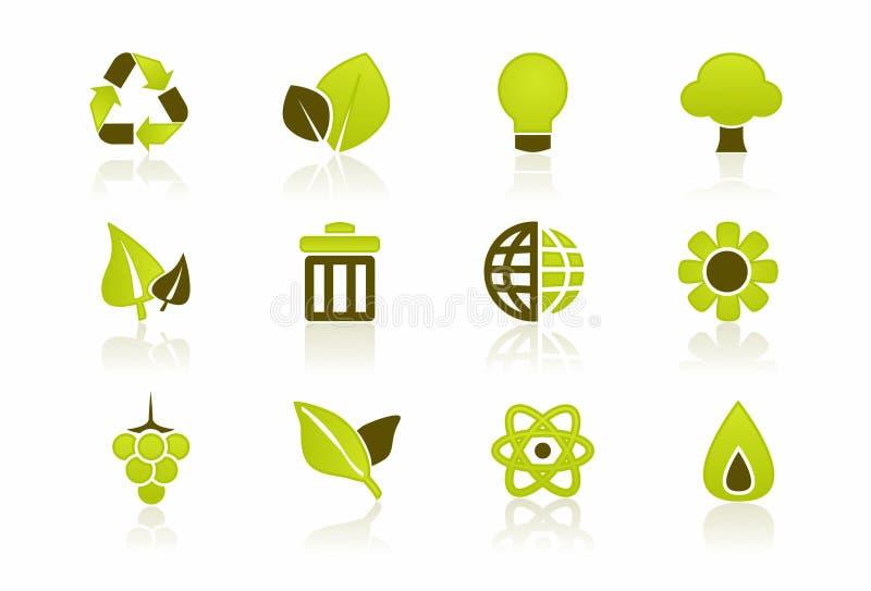 Insieme verde dell'icona dell'ambiente illustrazione vettoriale