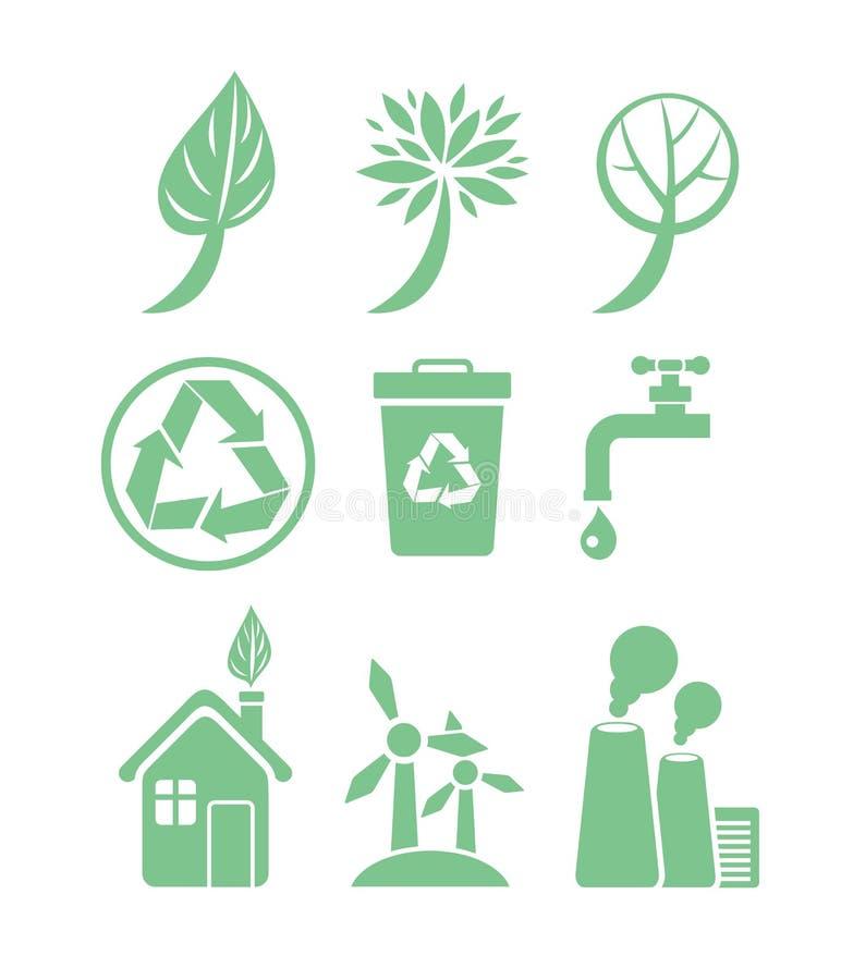 Insieme verde dell'icona di ecologia e di energia illustrazione di stock