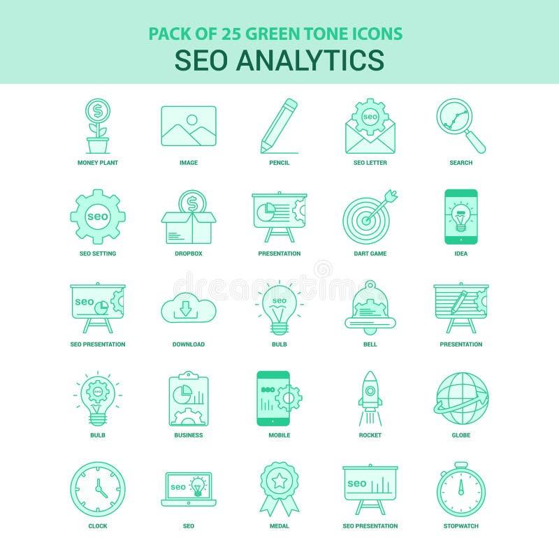 Insieme verde di 25 SEO Analytics Icon royalty illustrazione gratis