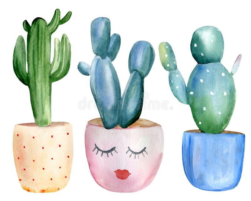 Insieme verniciato a mano di 3 cactus nei vasi di fiori Elementi isolati su fondo bianco royalty illustrazione gratis