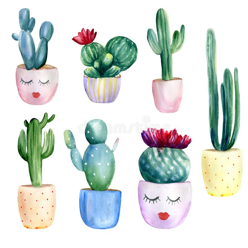 Insieme verniciato a mano di colore d'acqua di 7 cactus nei vasi di fiori Elementi isolati su fondo bianco illustrazione vettoriale