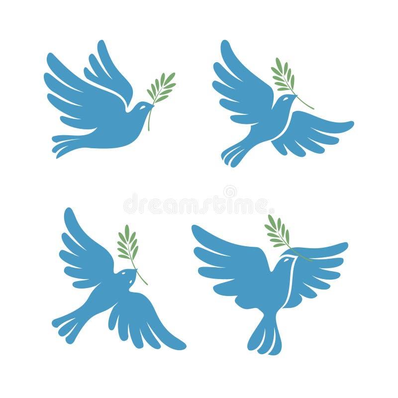 Insieme volante di schizzo di vettore della colomba Colomba di pace illustrazione di stock