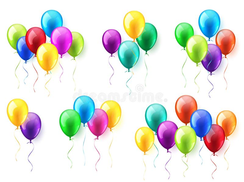Insieme volante lucido variopinto realistico isolato degli aerostati Festa di compleanno Nastro celebrazione Nozze o anniversario royalty illustrazione gratis