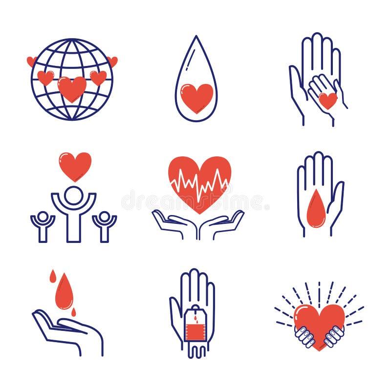 Insieme volontario di vettore delle icone illustrazione vettoriale