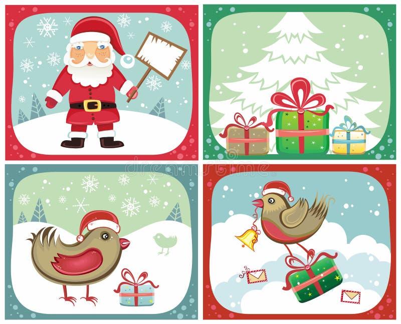 Insiemi 2 delle cartoline di Natale illustrazione vettoriale