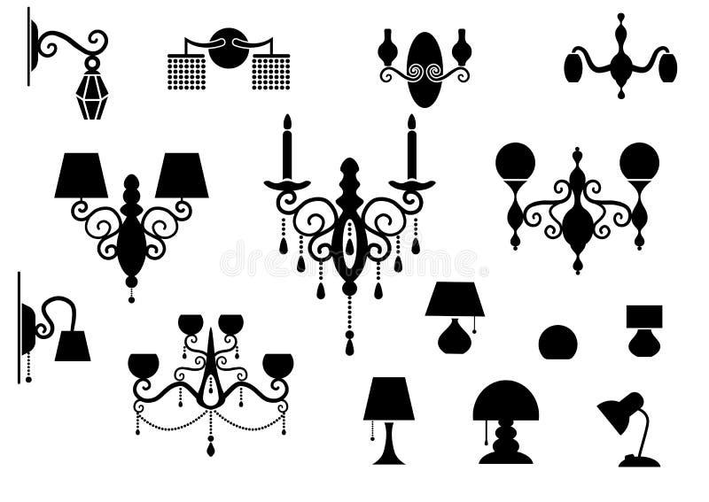 Insiemi della lampada e del candeliere della siluetta royalty illustrazione gratis