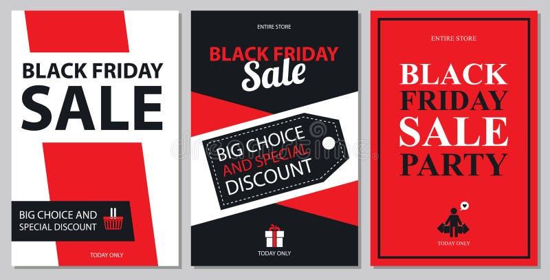Insiemi di carta neri di vendita di venerdì royalty illustrazione gratis