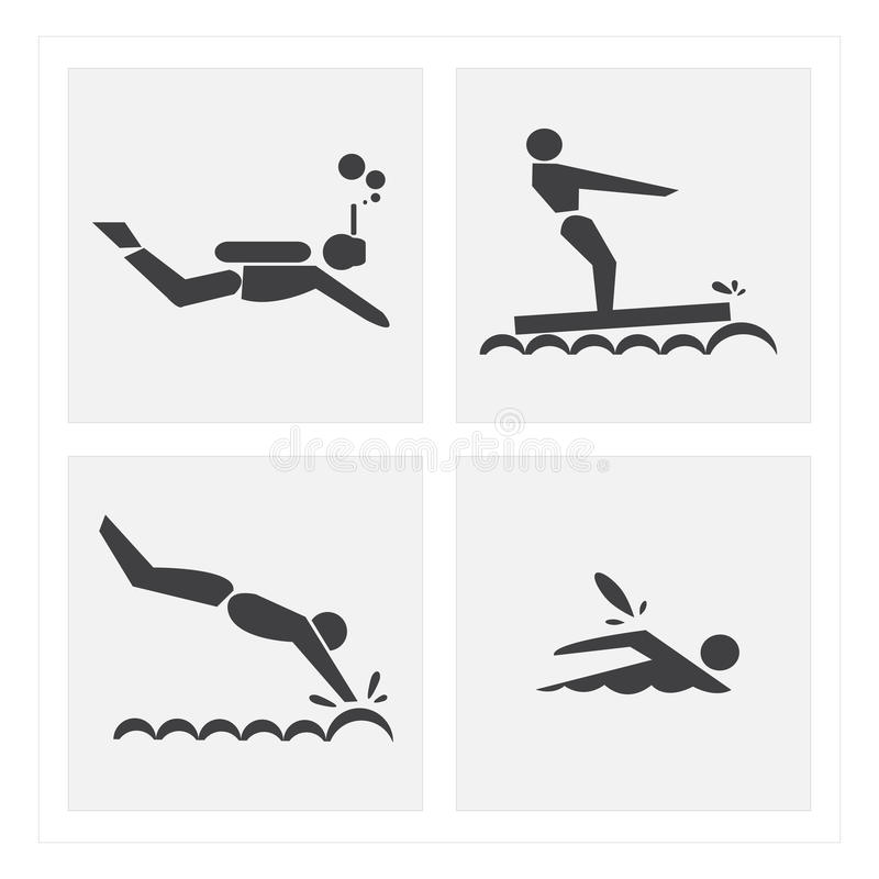Insiemi di nuoto di esercizio dell'icona immagini stock libere da diritti