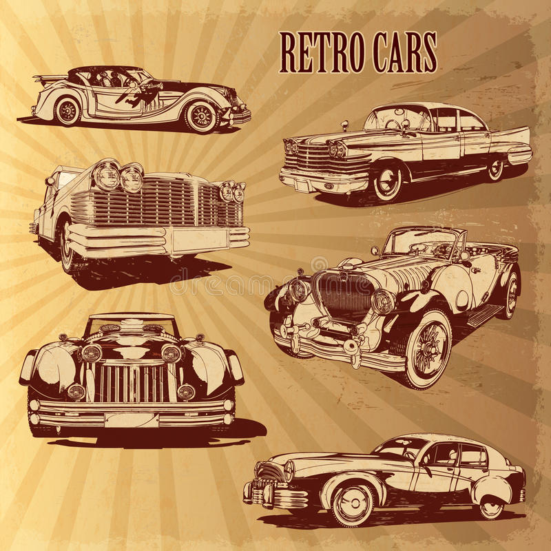 Insiemi di retro automobili della siluetta royalty illustrazione gratis