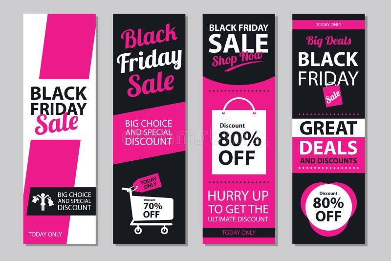 Insiemi neri del manifesto di vendita di venerdì illustrazione vettoriale