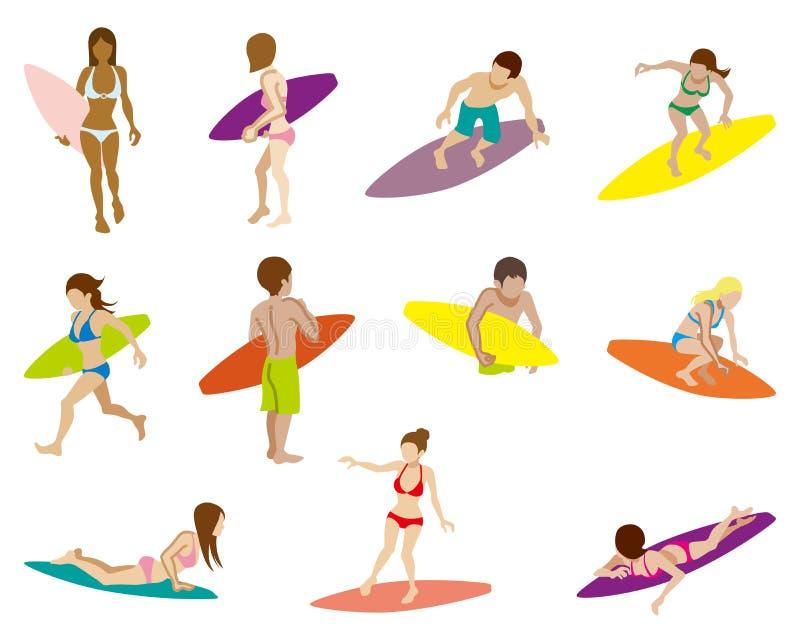 Insiemi praticanti il surfing della gente, isolati illustrazione di stock