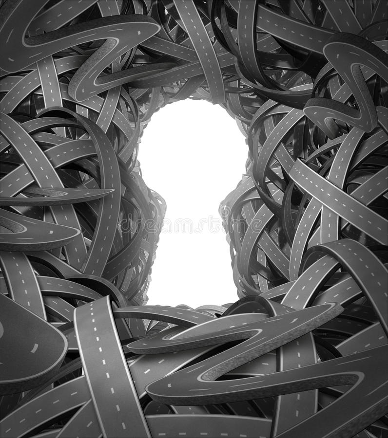 Insight. And enlightened solutions to life and in business with a confused group of roads and highways in forming the shape of a key hole shining light as a vector illustration