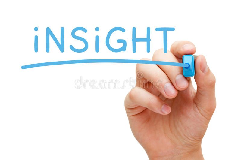 Insight Blue Marker. Hand writing Insight with blue marker on transparent wipe board stock photo