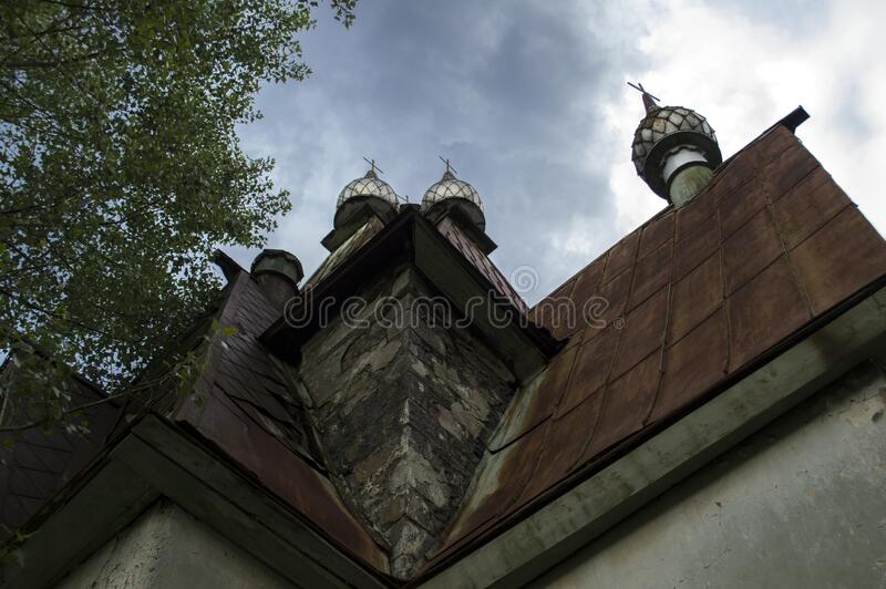 Insight trees Russian Church of St. Nicholas in Armenia. Artur Nerkararyan, an Amrakits administrative representative, says that the present village was founded royalty free stock image