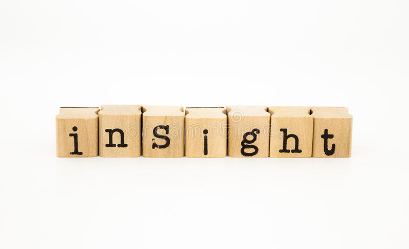 Insight wording, intelligence and knowledge concept. Closeup insight wording isolate on white background, intelligence and knowledge concept and idea royalty free stock photography