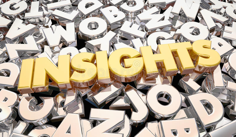 Insights Findings Intelligence Word Letters royalty free illustration