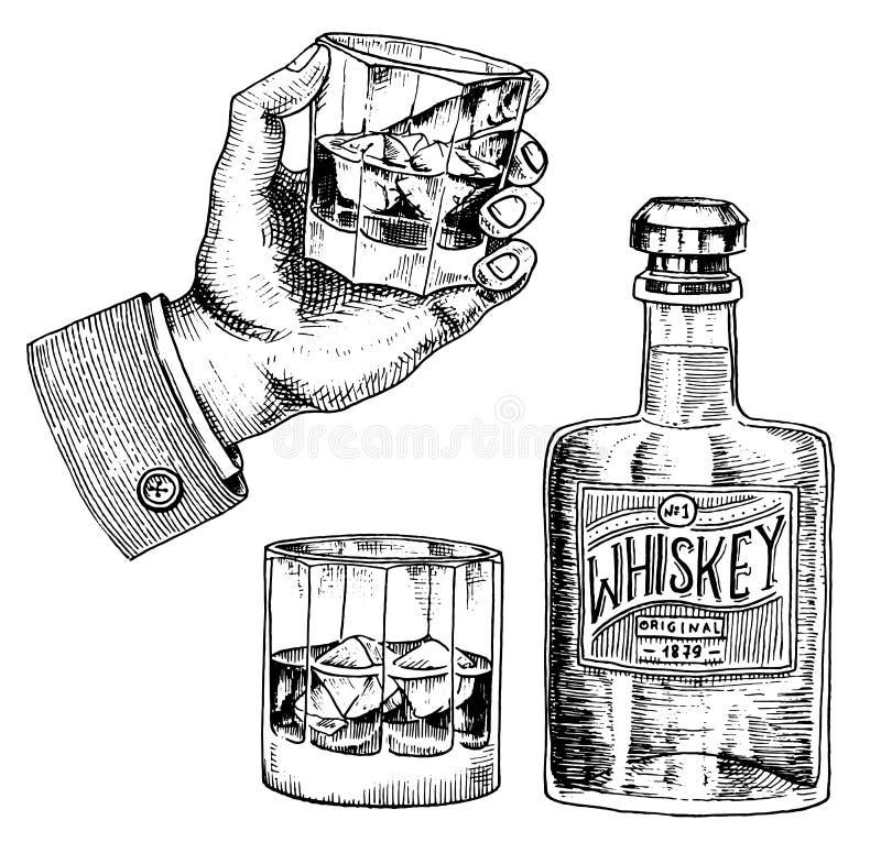 Insigne américain de whiskey de vintage Label alcoolique avec les éléments calligraphiques Cadre classique pour la bannière d'aff illustration de vecteur