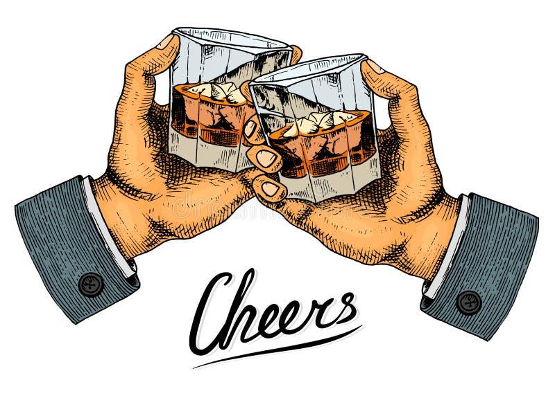 Insigne américain de whiskey de vintage Label alcoolique avec les éléments calligraphiques Cadre classique pour la bannière d'aff illustration stock
