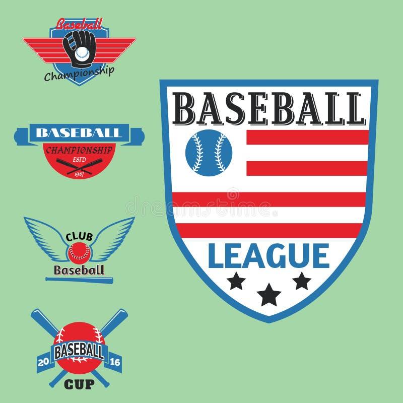 Insigne bleu professionnel de vecteur de sport d'insigne de base-ball de couleur rouge de champion graphique de concurrence de to illustration libre de droits