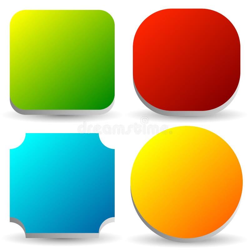 Insigne, bouton, ensemble de bannière dans la couleur 4 lumineuse avec léger 3d illustration de vecteur