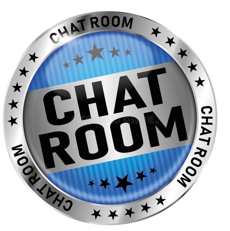 Insigne brillant rond de joint d'icône de médaille de salle de messagerie instantanée bleue illustration stock