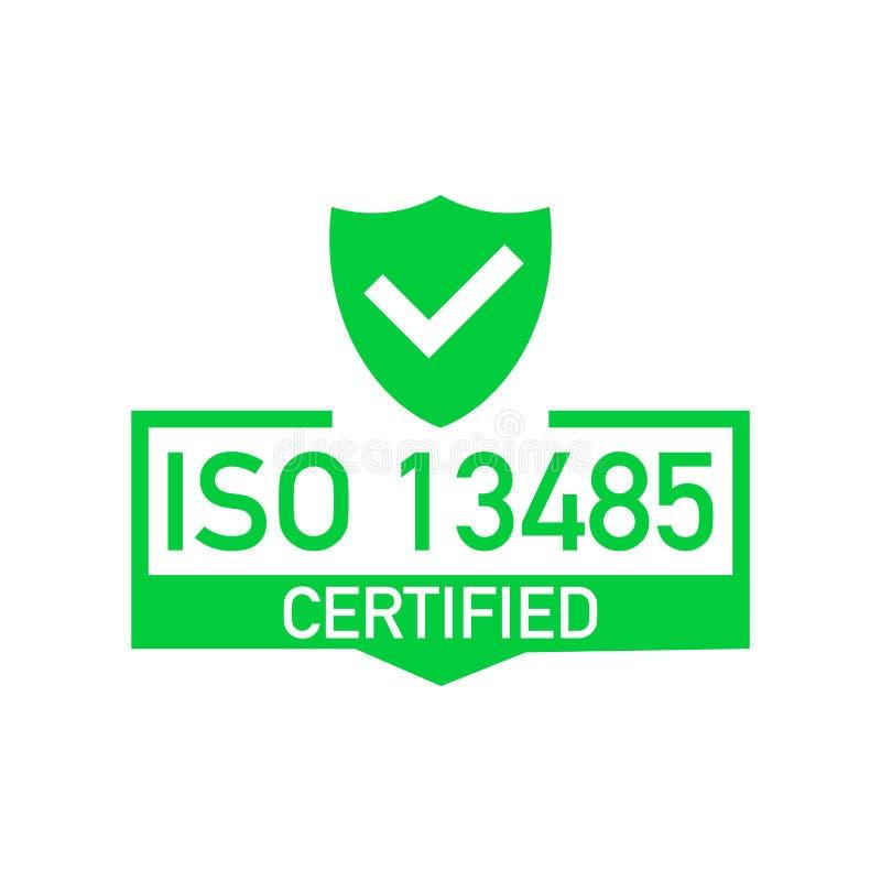 Insigne certifié d'OIN 13485, icône Timbre de certification Vecteur plat de conception illustration de vecteur