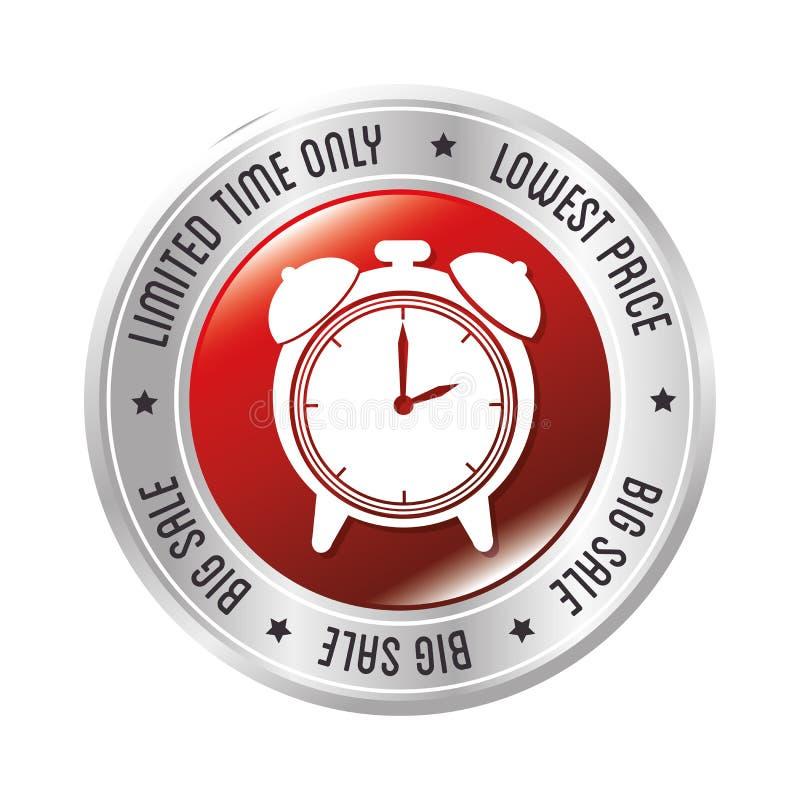 Insigne d'alarme d'horloge de vente des plus bas prix de temps limité seulement grand illustration stock