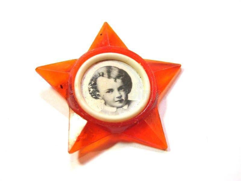 Insigne d'octobre avec Lénine image stock