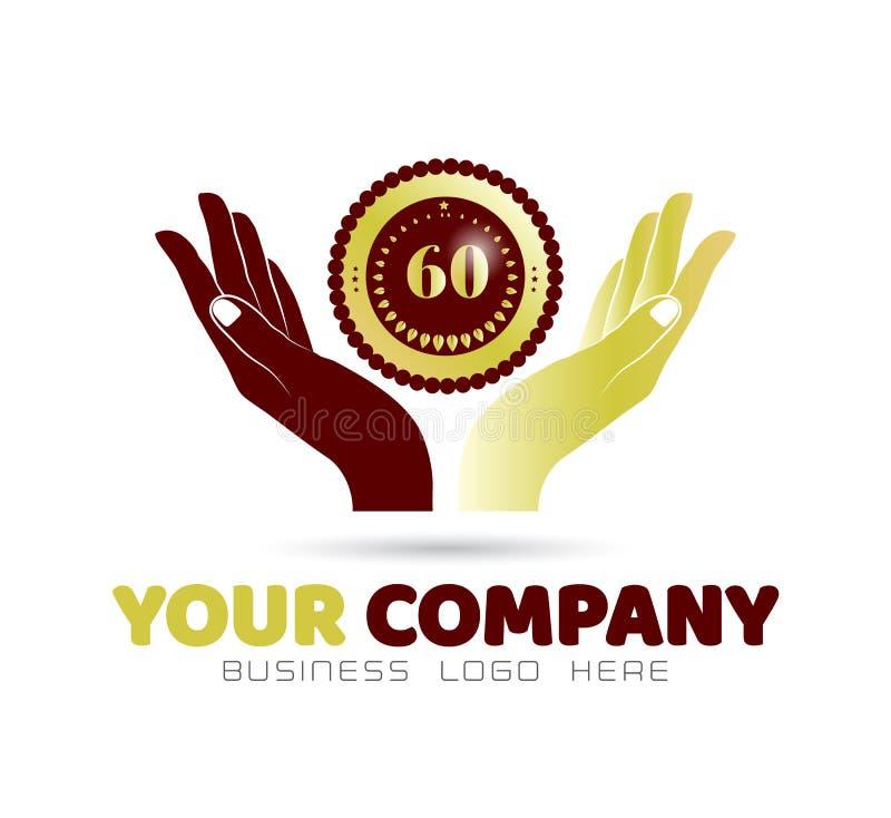 Insigne d'or tenant la main icône union familiale, logo love care in hands illustration de vecteur