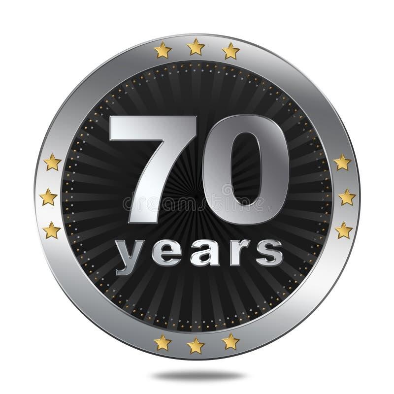 Insigne de 70 anniversaires - couleur argentée illustration libre de droits
